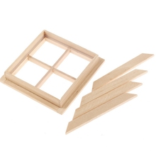1 : 12 Dollhouse Miniature Wooden Biscuit Window Mpdel DIY  Geometrical Square Toy Furniture Accessories for kids/Children
