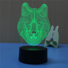 Night Light Wolf Head 3D LED Lamp Sleep Table Lamp Touch Colors Changing Light Novelty Gift for Chilren LED Illusion Atmosphere dolphin lamp 3d illusion led night light 7 colors table novelty decor lights with touch button for friends kids gift 3578