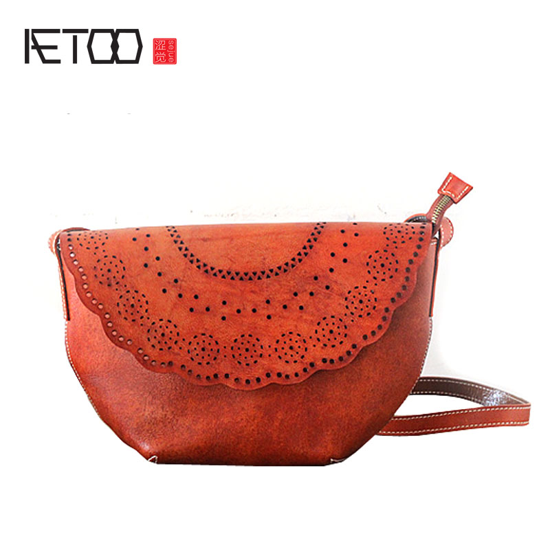 AETOO Original hand-wiping bag leather bag handbag retro first layer tannery personalized bag shoulder Messenger bag famous brand top leather handbag bag 2018 new big bag shoulder messenger bag the first layer of leather hand bag