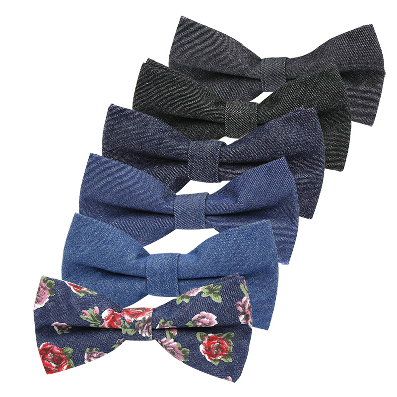 Men Groom Bow Tie Necktie Fashion Denim Adjustable For Wedding Business Suit Party FS99