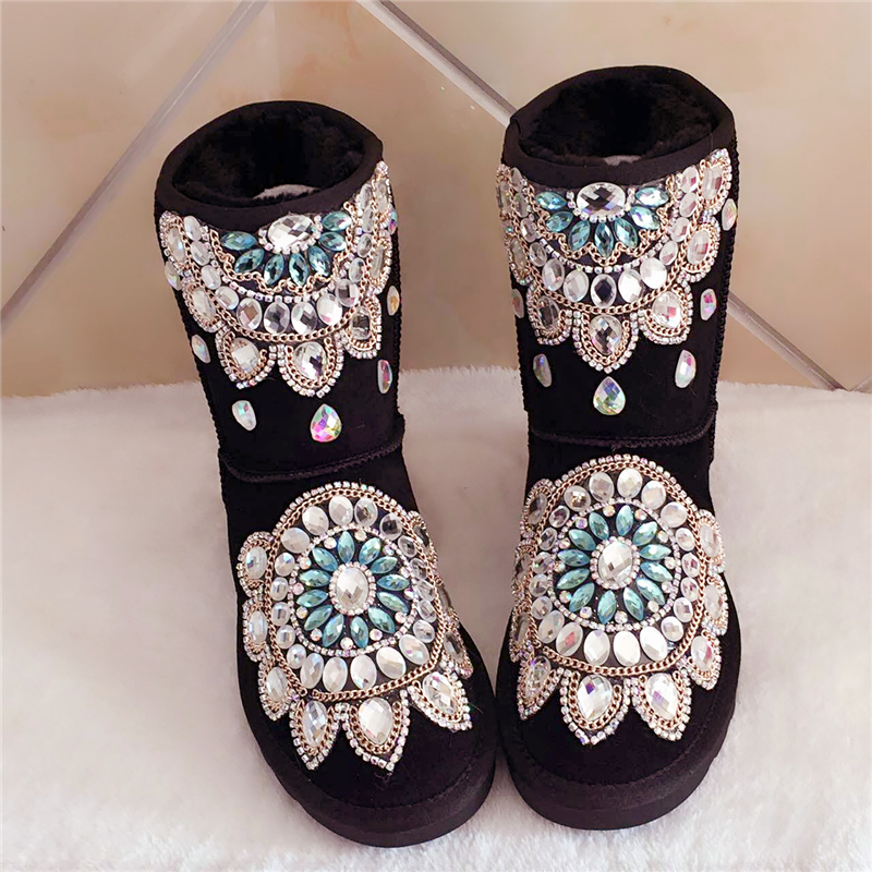2017 autumn and winter new handmade diamond gem black snow boots in tube thick non-slip real leather shoes cotton shoes2017 autumn and winter new handmade diamond gem black snow boots in tube thick non-slip real leather shoes cotton shoes