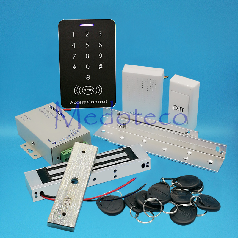 Full 125khz Rfid Card Wood Metal Door Access Control System Kit EM Card Access Controller +350lbs Magnetic Lock + ZL Bracket
