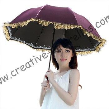 Женские Лето 100% солнцезащитный крем UPF> 50 + зонтик мини 5 раз черное покрытие УФ Защита Женщины карманные кружева зонтик