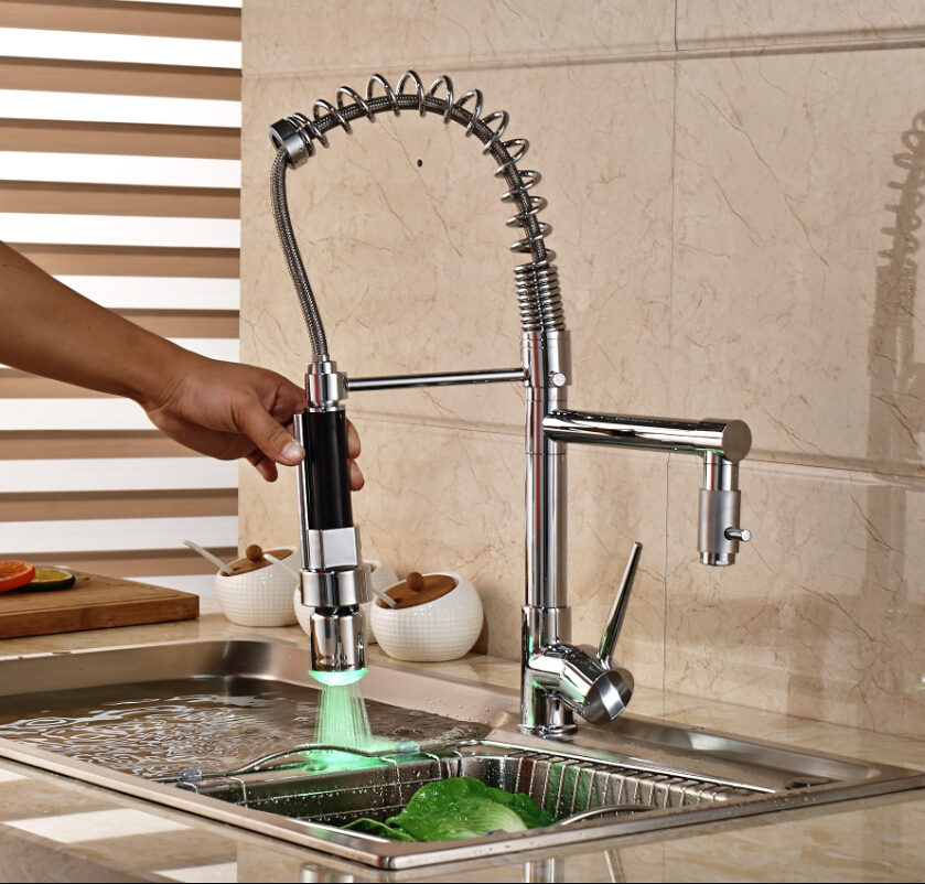Chrome Finish LED Light Kitchen Faucet Hot Cold Water Coil Spring Deck Mount Mixer Tap One