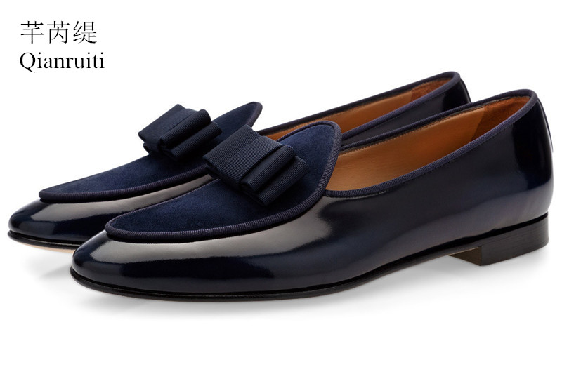 Qianruiti Men Patent leather Shoes Bowknot Slip-on Oxfords Belgian loafers Wedding Flats Handmade Men Dress Shoes EU39-EU46 qianruiti men slip on loafers metal toe lion head business wedding oxfords silver chain high quality men dress shoe eu39 eu46