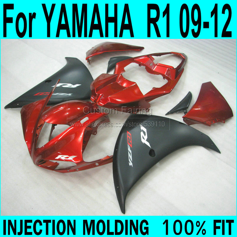 abs plastic injection motorcycle fairings kit for 2009 2010 2011 yamaha yzfr1 09 10 11 yzf r1 yzf1000 matte black fairing kits Injection Fairings For YAMAHA YZF R1 2009 2012 ( Matte black + wine red ) full plastic parts Fairing kit +7gifts LL02
