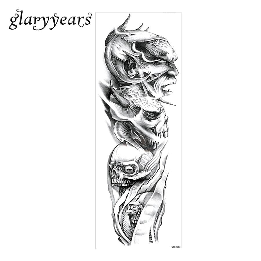 ᗗ1 Sztuka Pełna Ramienia Tatuaż Naklejki Tymczasowe Diabeł Czaszka