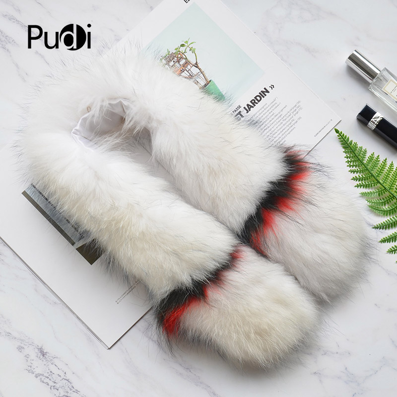 Pudi SF806 woman real fox fur   scarf   2018 new brand girl genuine fox fur   scarves     wrap   shawl white