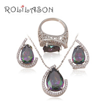 So shining Elegant Set 925 Silver Stamped Inlay MysticTopaz Style Jewellery set Pendants Earrings Ring sz #6.5 #7.5 #eight.5 MS034