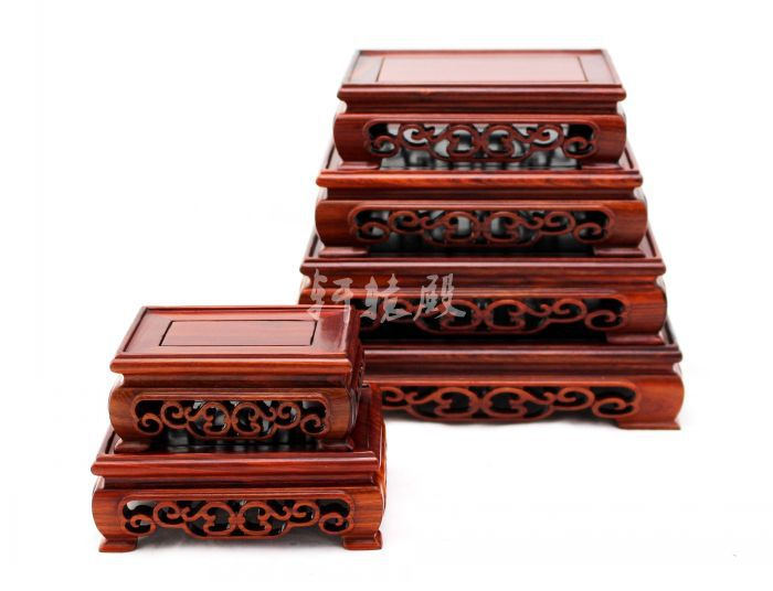 Wholesale red wood crafts jade ornaments odd stone seal wood pedestal foot rectangular t ...