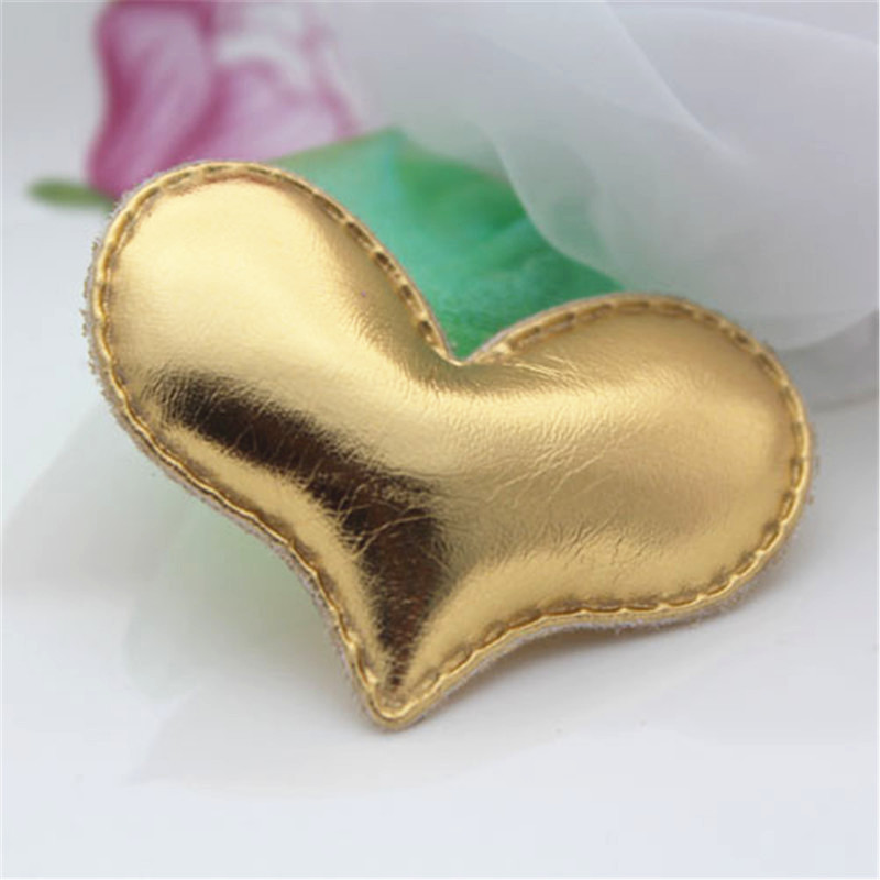 Free Shipping 50PCS Christmas Gold Color Bling Heart for Girls Hair Jewelry Bow Center Headband Decoration