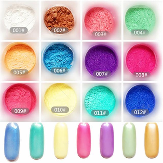 12 Cajas de Polvo Del Brillo Del Polvo de Uñas de Arte Magnífico Espejo Cromo Pigmento Del Arte Del Clavo Glitters 8311429