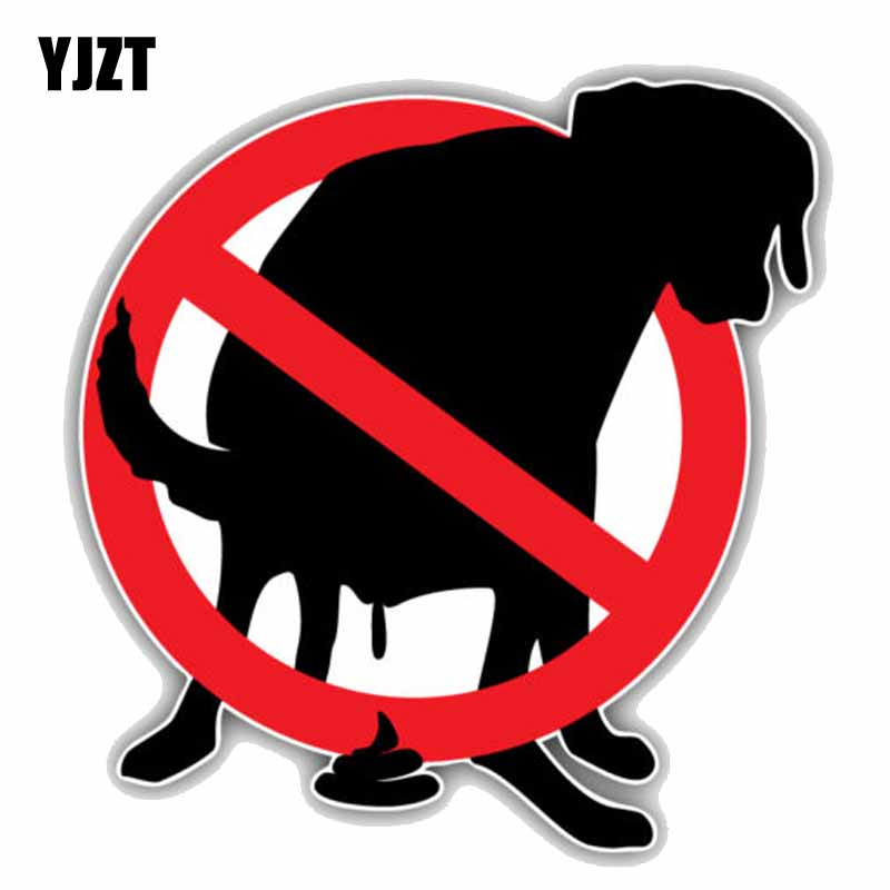 YJZT 13CMx13CM Pooping Dog Prohibition Ban Stop Sign PVC Colored Car Sticker C1-9071