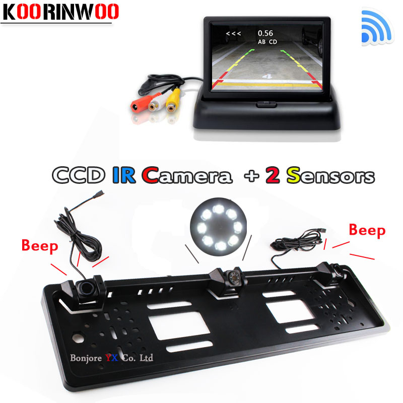 Koorinwoo Wireless Adopt Monitor Mirror Parktronic Car License Plate Frame Rear View Camera Car parking Sensor