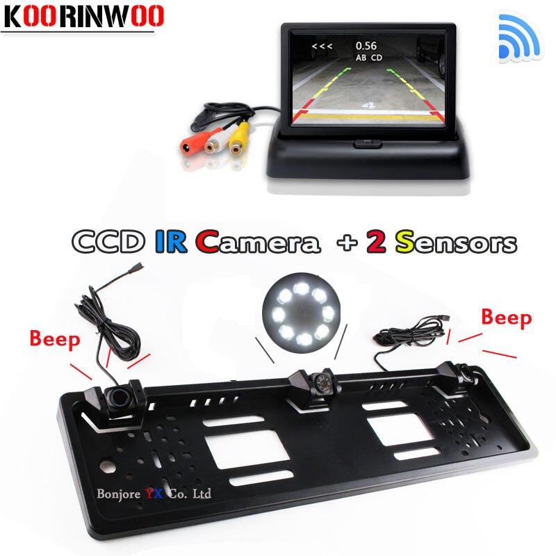 Koorinwoo беспроводной монитор зеркало парктроник Автомобильная рамка номерного знака камера заднего вида датчик парковки датчик с жалюзи