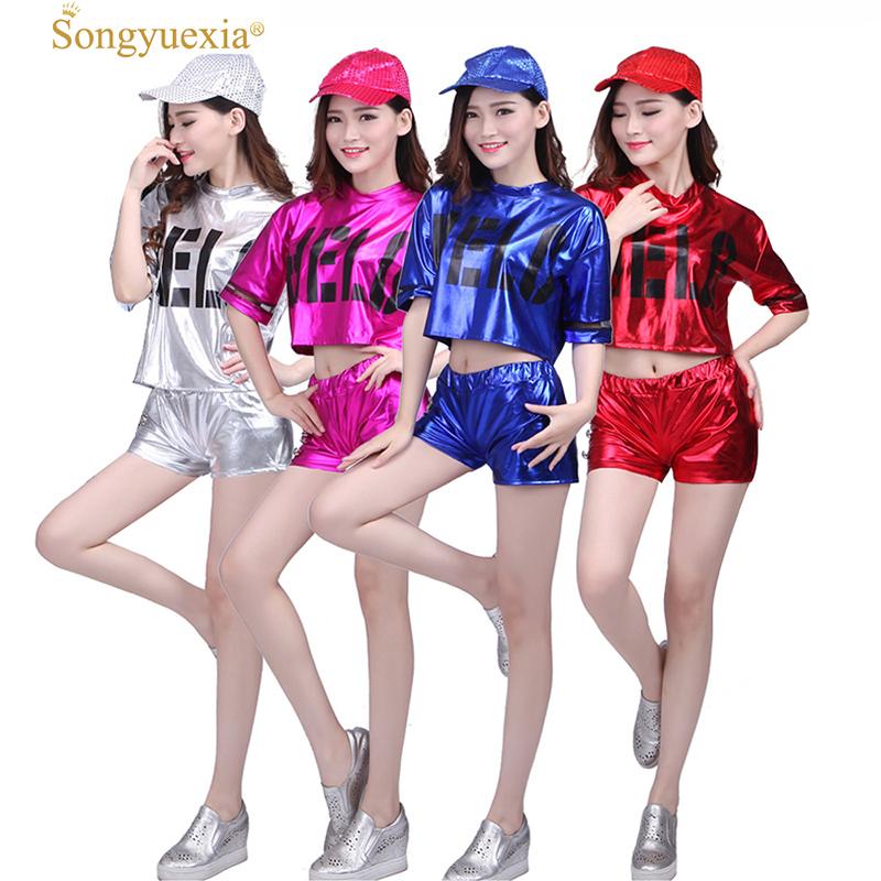 Songyuexia Woman Modern Dancewear Adult Hip Hop Stage Dance Clothing Suit Short Sleeve Bright Skin Cheerleading Costumes