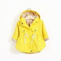 2016 New Spring Autumn Hooded Kids Jackets Long Sleeve Polka Dot Print Fashion Girls Windbreaker Coat
