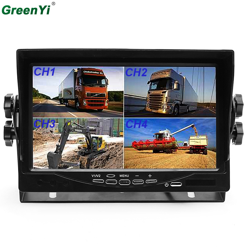 7 Split Quad Monitor Car Headrest Display 4CH Video Input For Back Up Camera Truck RV & CCTV Surveillance Security System