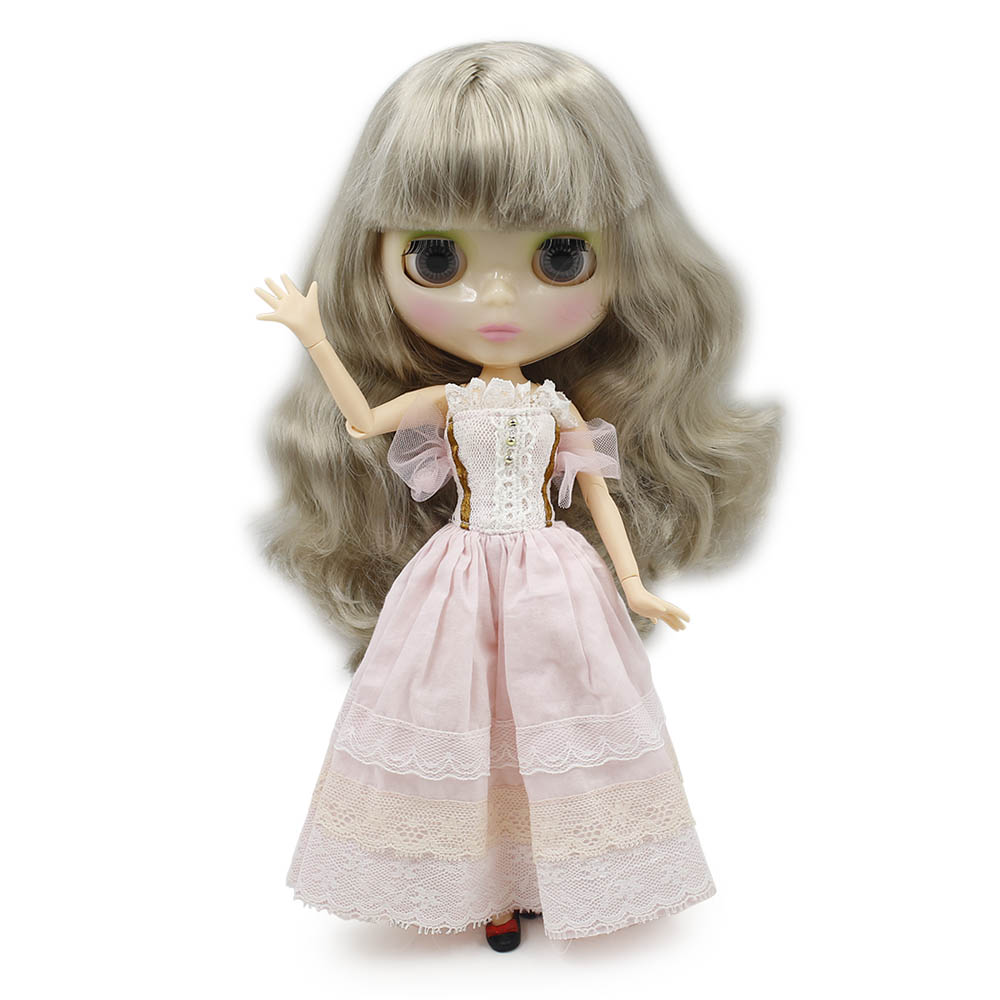 Blyth 30cm Doll Nude White Skin Wine Reb short Hair With