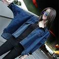 Women Autumn BF Oversize Denim Jacket Korean Style Loose Batwing Long Sleeve Blue Jeans Basic Coats Female Retro Casual Outwears
