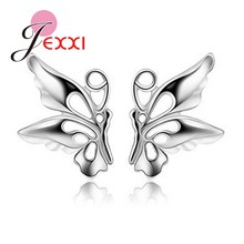 One Pair Big Promotion 925 Sterling Silver Cute Butterfly Stud Earring With Back Stopper Woman Girl Wedding Nice Jewelry(China)