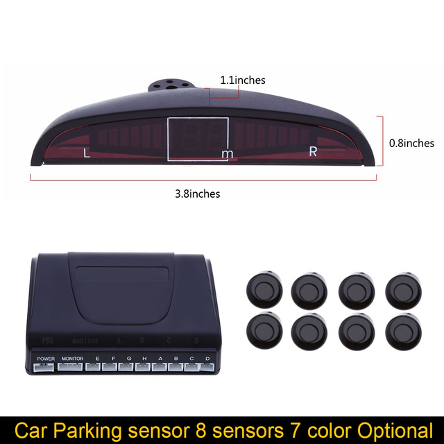 Auto Electromagnetic Parktronic Car Parking Sensor 8 Sensors Sound Radar Sensors System Car Detector Sliver Color Buzzer Alarm