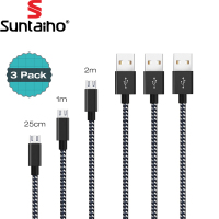 3 PACK Micro USB Cable 2 4A Fast Charging Cable Suntaiho Nylon Braid USB Cable