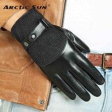 2015 New Men Genuine Leather Gloves Top Quality Touchscreen Goatskin Winter Plus Velvet M035NC2