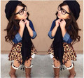 Fashion! children girls leopard skirt demain shirt +scarf 3 pcs clothes set stylish girl clothes kids fashion HOT clothing