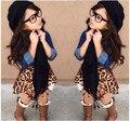 Moda! crianças meninas leopardo saia demain camisa + cachecol 3 pcs roupas definir roupas elegantes roupas de menina crianças moda QUENTE