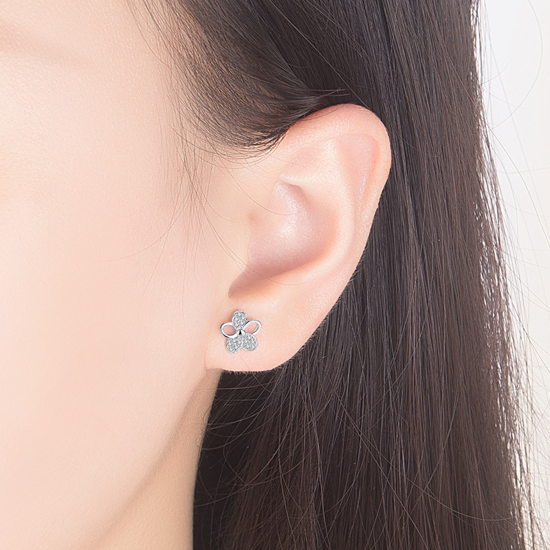 Promotion 100 925 sterling silver fashion plum flower shiny crystal ladies stud earrings jewelry Anti allergy drop shipping in Stud Earrings from Jewelry Accessories