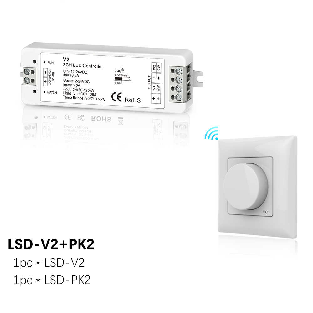 Regulador LED CCT interruptor 12V 24V 10A 2CH WW CW doble Color LED tira de luz 2,4G Panel giratorio RF control remoto inalámbrico de 12 voltios