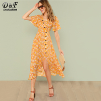 Dotfashion Zipper Split Button Front Slit Hem Ginger Dress 2018 Summer Short Sleeve V Neck High Waist Ladies Vacation Long Dress