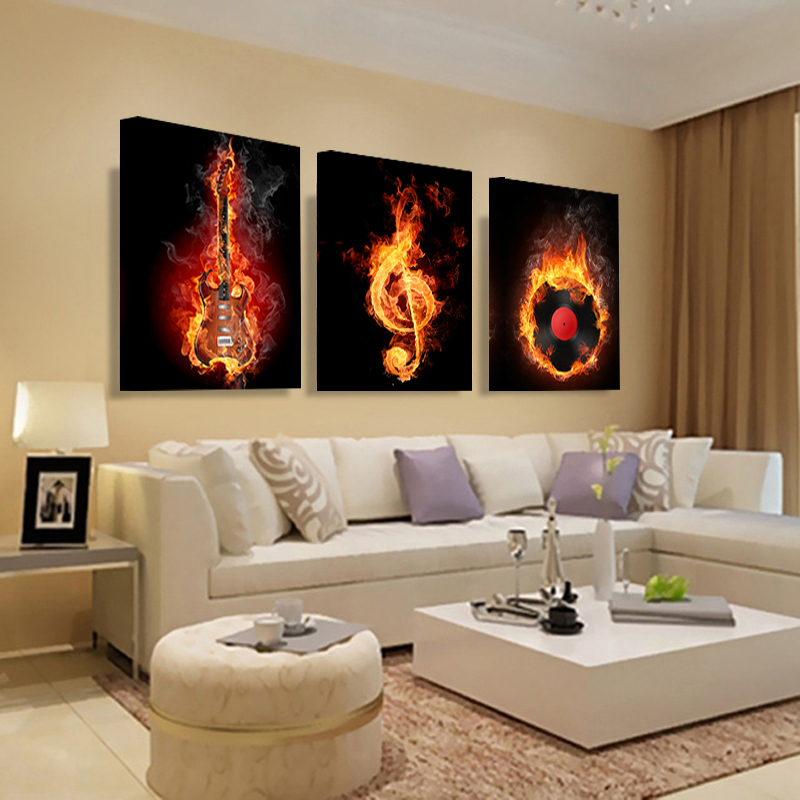 10 Awesome Music Inspired Home Decor Ideas: Music 3 Piece Canvas Wall Painting Abstract Home Decor