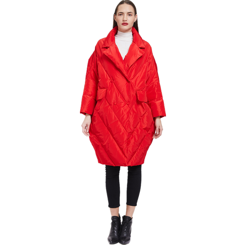 Red cocoon-shaped jacket for women winter down coat female New Year's celebration