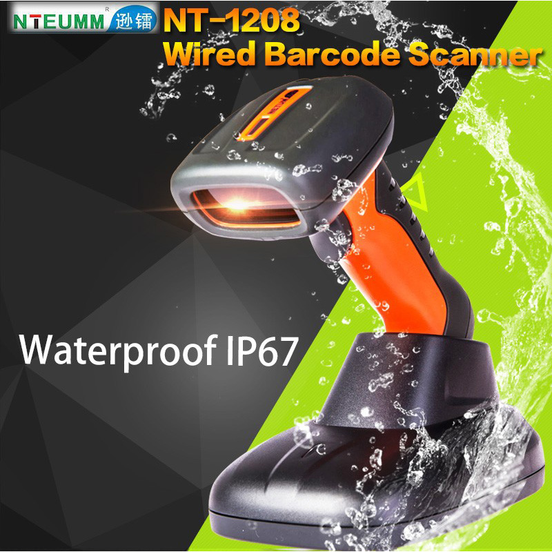 Free Shipping!NTEUMM NT-1208 Laser Wired Barcode Scanner USB Waterproof Barcode Reader Portable Handy 1D Barcode Scanner W/Stand  free shipping handheld usb plug and play laser barcode scanner stand bracket comes with similar as mk9540 ls2208