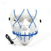 Горячая Хэллоуин LED Neon террор EL маска холодный свет шлем огонь фестиваль партия светящиеся танцевальные праздник освещения маска DC-3V драйве...