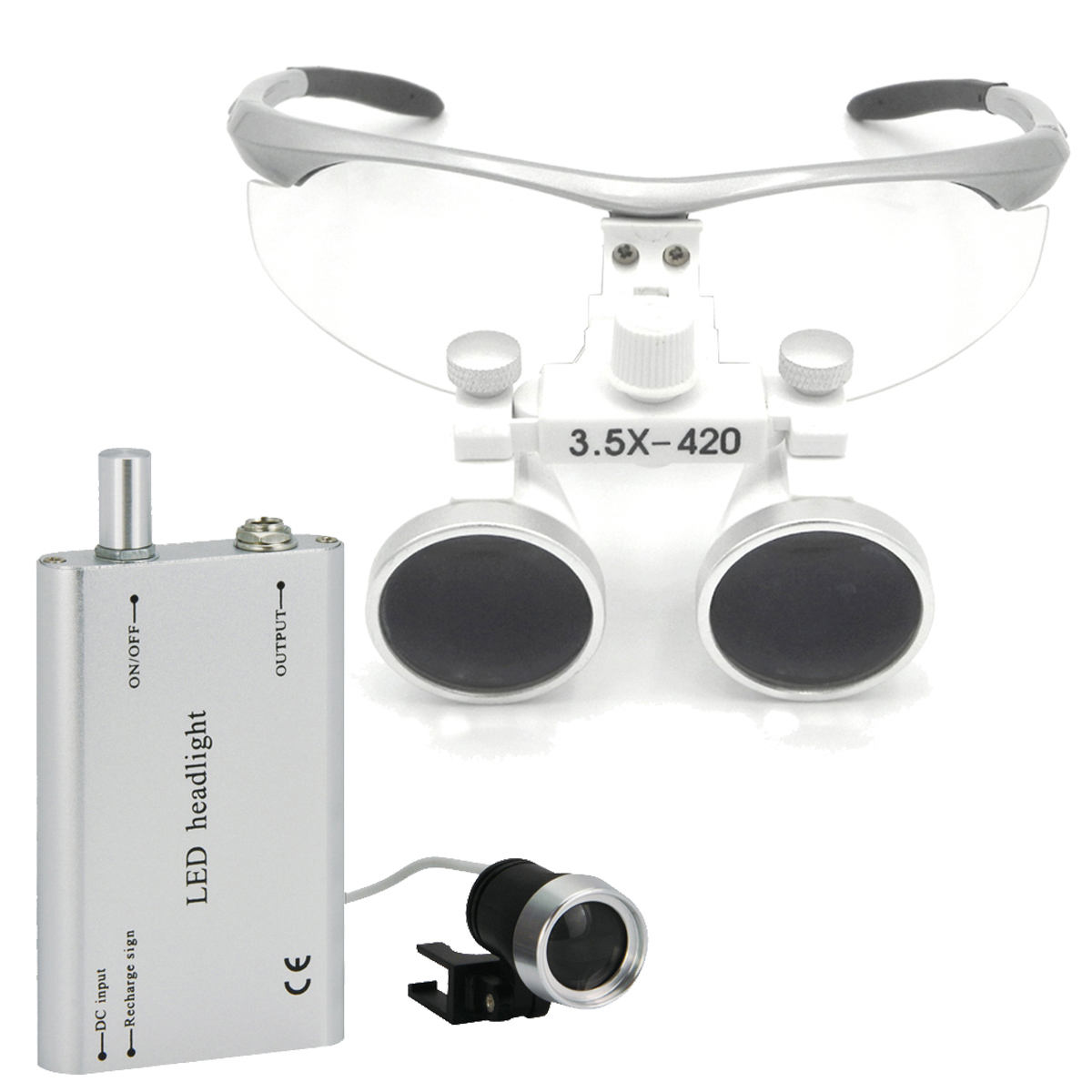 Spark 3.5 x Magnification Professional Loupes with 3 Watt Headlight for Dental Surgical or Hobby Adjustable Pupil Distance  цены