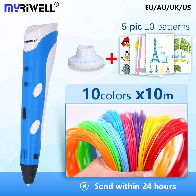 Myriwell 3D Pen RP 100A 1.75mm filament 3d printed pen 3 d pen  +100m abs safety plastic+Super gift kids Birthday present