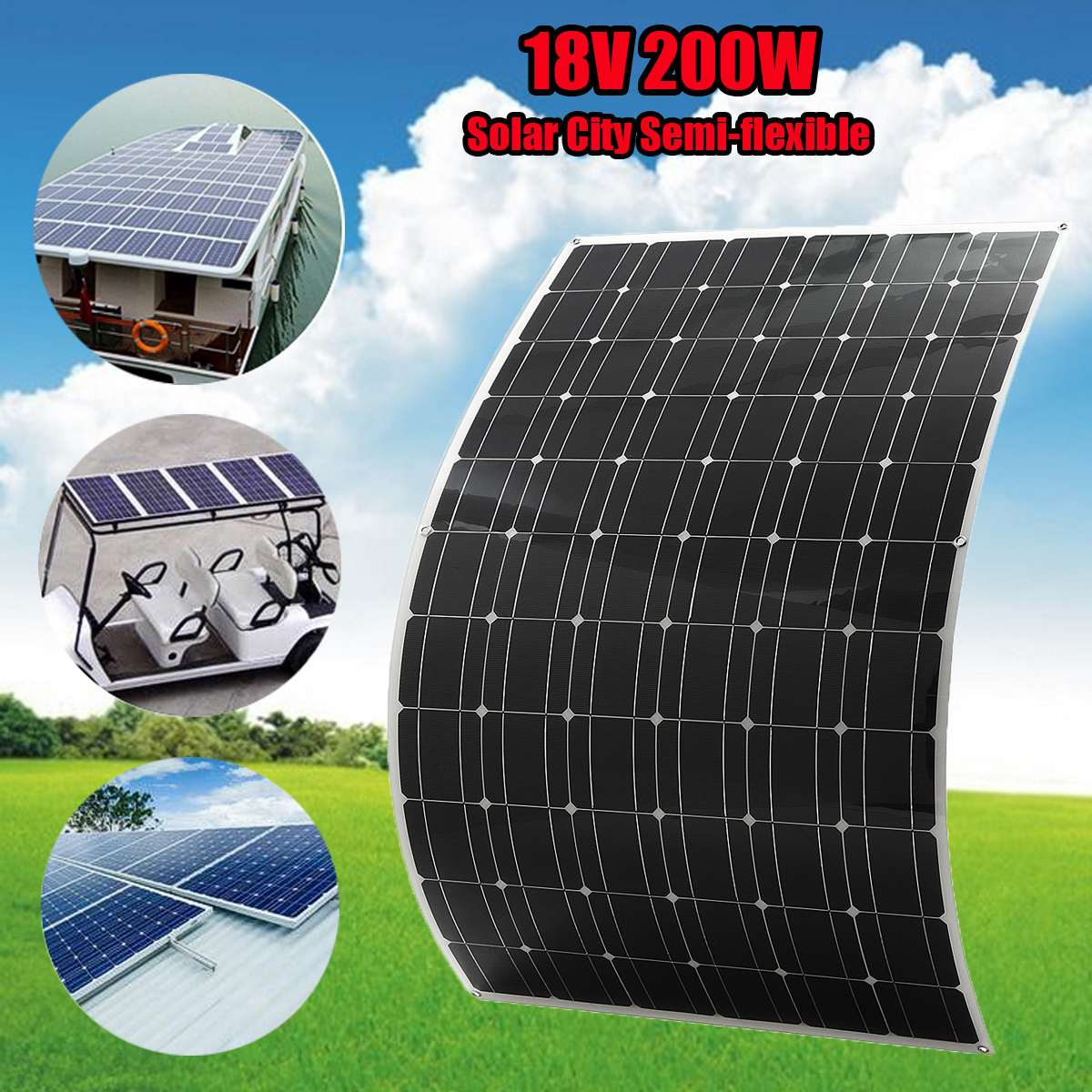 EL-10 200W 12V Semi Flexible Monocrystalline Solar Panel Waterproof High Conversion Efficiency Solar Panel + 1.5m Cable 50w 12v semi flexible monocrystalline silicon solar panel solar battery power generater for battery rv car boat aircraft tourism