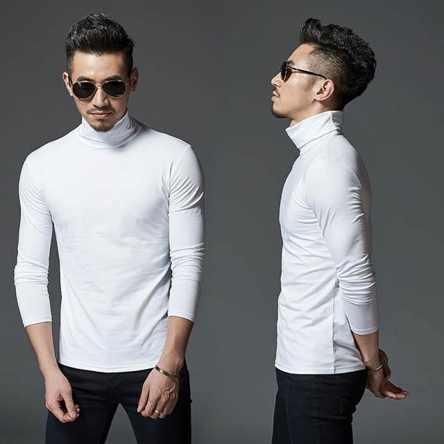Elastic Cotton Mens Thermal Underwear Winter Turtle Neck Tops High Collar Long Johns XXXL Big size Man Long Sleeve Undershirt