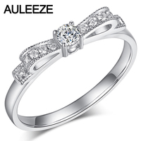 AULEEZE Diamond Jewelry Solid 18k 750 White Gold Ring Natural Diamond Bowknot Design Ladies Wedding Band