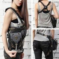 Gothic Punk Belt Bag Waist Leg Hip Hop Holster Shoulder Pouch Travel Rock Purse Wallet Handbag