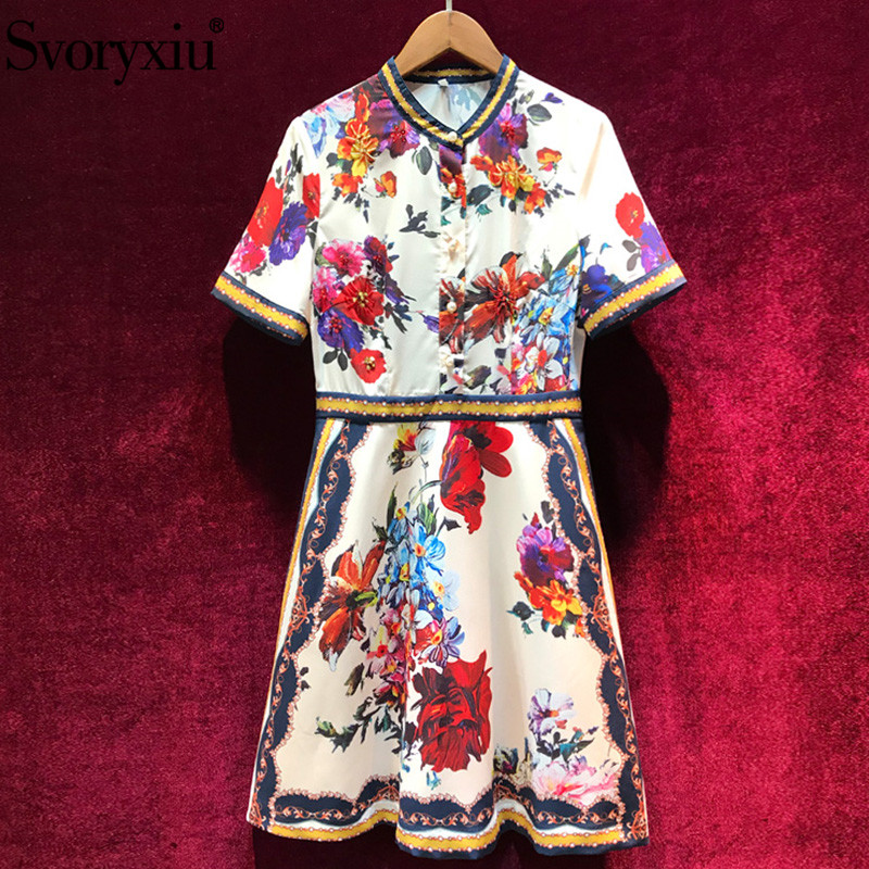 Svoryxiu 2019 Runway Designer Summer Short Dress Women's Fashion Crystal Beading Vintage Flower Print Party Dresses Vestdios-in Dresses from Women's Clothing    1