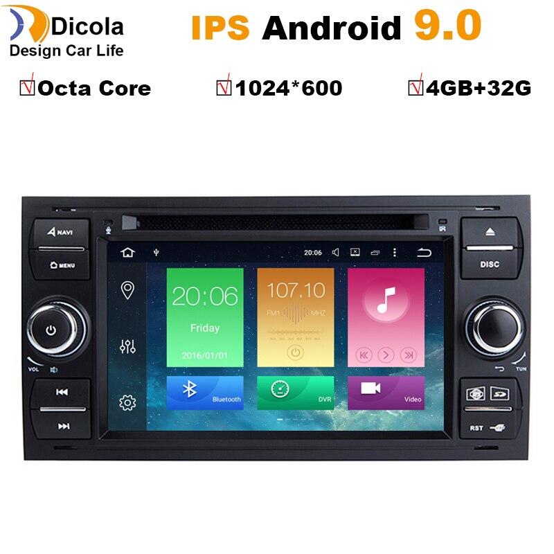 4 + 32G PX5 Android 9 dvd de voiture pour Ford focus Mondeo s-max smax c-max avec radio gps lecteur multimédia 1024*600 navigation