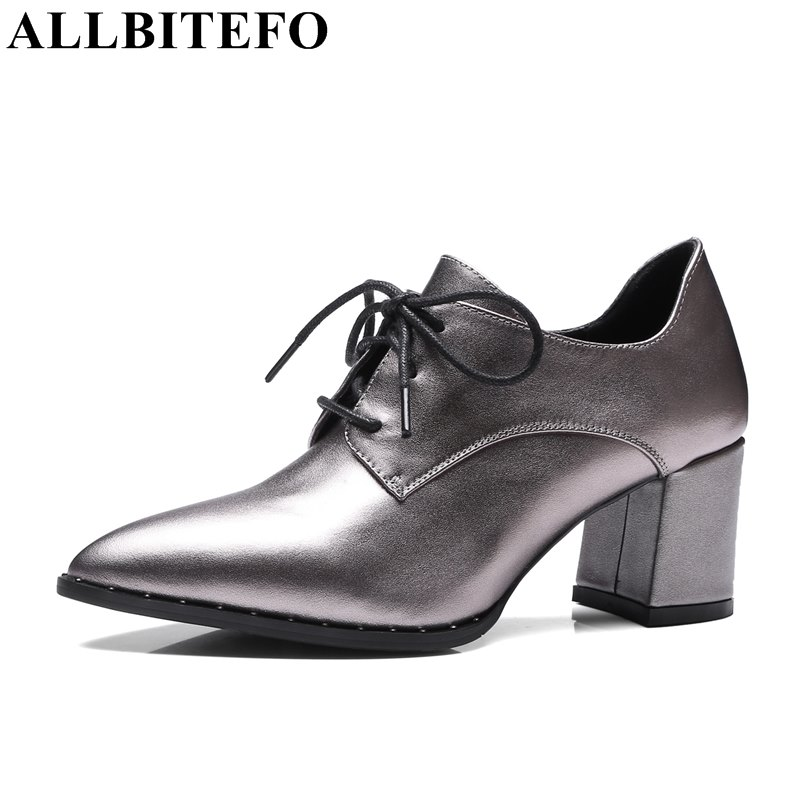 ALLBITEFO large size:33-41 genuine leather pointed toe high heel shoes fashion thick heel high quality women pumps women's shoes plus size 33 42 pointed toe genuine leather buckle mixed colors fashion casual high heel shoes platform high quality women pumps