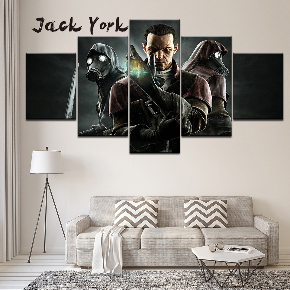 Canvas Painting Dishonored The Return of Daud 5 Pieces Wall Art Painting Modular Wallpapers Poster Print living room Home Decor in Painting Calligraphy from Home Garden