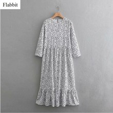 Flabbit vrouwen zoete stippen afdrukken casual losse lange jurk dames o hals pleats big swing cake vestidos chic party jurken DS289(China)