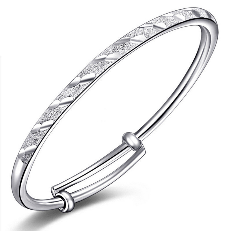 New Meteor Shower Tube Sliding Frosted Bangles 925 Sterling Silver Bracelet Child Women Jewelry Wholesale