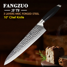 FANGZUO 10 Chef Kitchen Knives Stainless Steel 3 Layer 440C Core Clad G10 Handle High Quality Vegetable Meat Knife